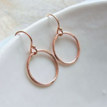 Rolled Rose Gold Circle Earrings