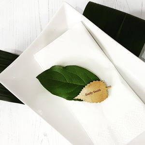 Botanical Leaf Wedding Wooden Place Name