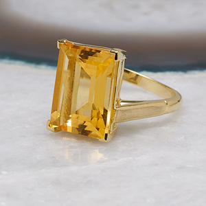 18ct Gold Vermeil Citrine Cocktail Ring - precious gemstones