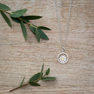 Teeny Daisy And Circle Pendant In Silver And 18ct Gold