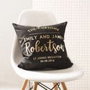 Personalised Black And Gold Wedding Cushion