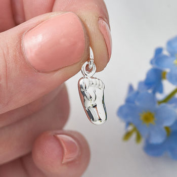 New baby foot silver bracelet charm pendant or necklace gift for new mum and baby from Scarlett Jewellery of Hove