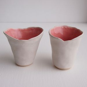 Handmade Pastel Pink And White Ceramic Vase - vases