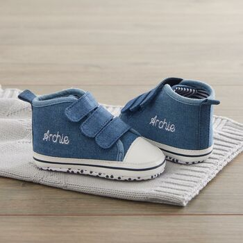 Personalised Chambray High Top Trainers
