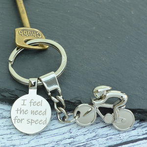 Personalised Sprint Cyclist Keyring