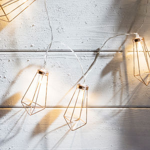 Copper Geometric Pendant Battery Fairy Lights - new lines added