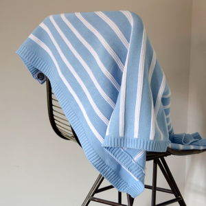 Personalised Grey, Pink Or Blue Knitted Stripe Blanket - throws, blankets & fabric