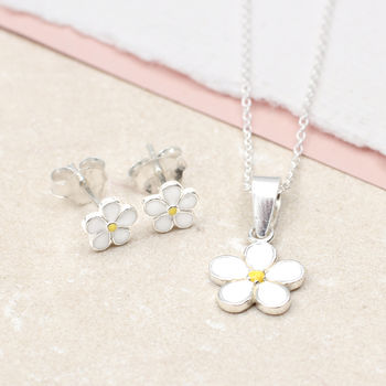 Girl's Sterling Silver And Enamel Daisy Necklace Set