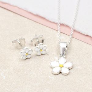 Girl's Sterling Silver And Enamel Daisy Necklace Set - children's jewellery