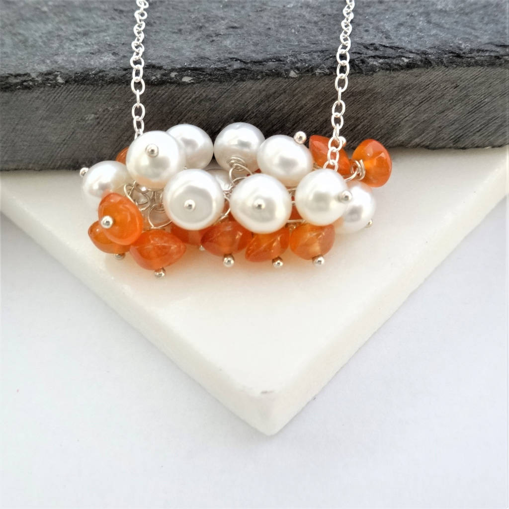 Carnelian And Pearl Cluster Silver Necklace
