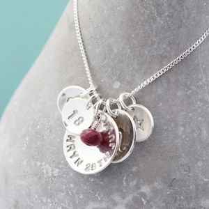 Birthday Necklace With Birthstone Sterling Silver - for her