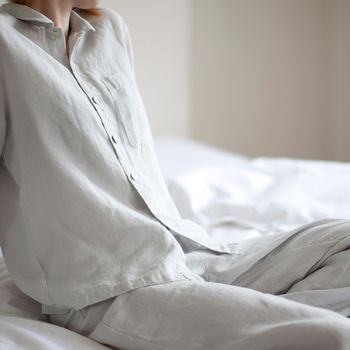 Dove Grey Linen Pyjamas