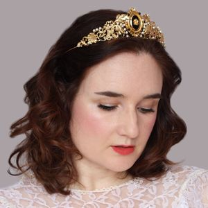 Gold Vintage Style Cameo Tiara - bridal hairpieces