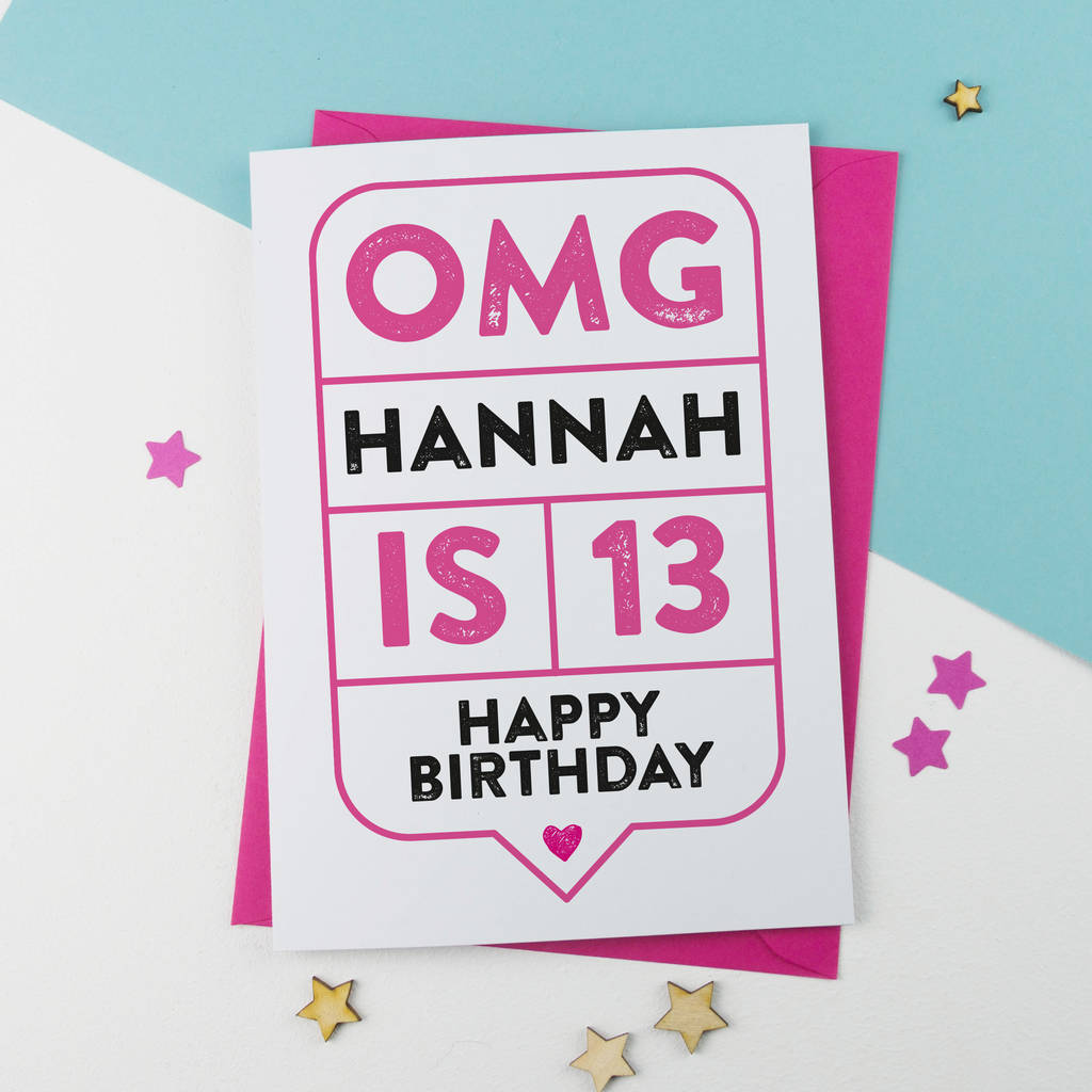 omg 13th birthday card personalised by a is for alphabet – 13th Birthday Greetings