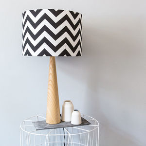 Monochrome Geometric Zig Zag Wooden Table Lamp