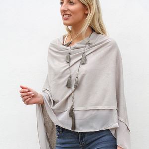 Personalised Lightweight Wool Mix Summer Poncho - womens