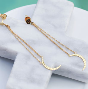 18ct Gold Vermeil Crescent Moon Chain Earrings