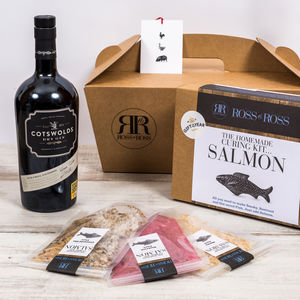 Cotswold Gin And Make Your Own Salmon Kit Gift - food hampers