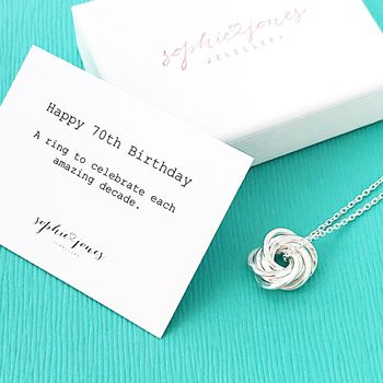 70th Birthday Silver Necklace