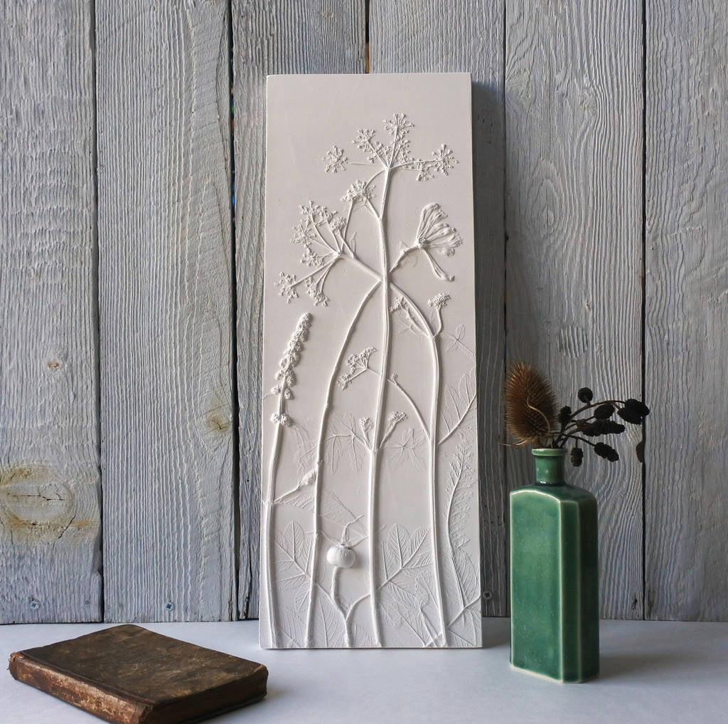 Cow Parsley, Budlia, And Honeysuckle Wall Plaque