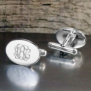 Engraved Oval Sterling Silver Monogram Cufflinks
