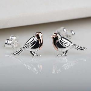 Rose Gold And Solid Silver Robin Stud Earrings - earrings