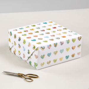Map Hearts Luxury Gift Wrapping Paper - cards & wrap