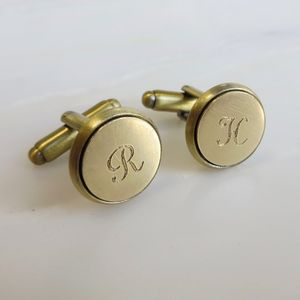 Engraved Brass Cufflinks