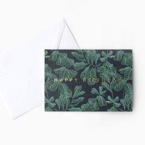 Botanical Blue Gold Foiled Birthday Card