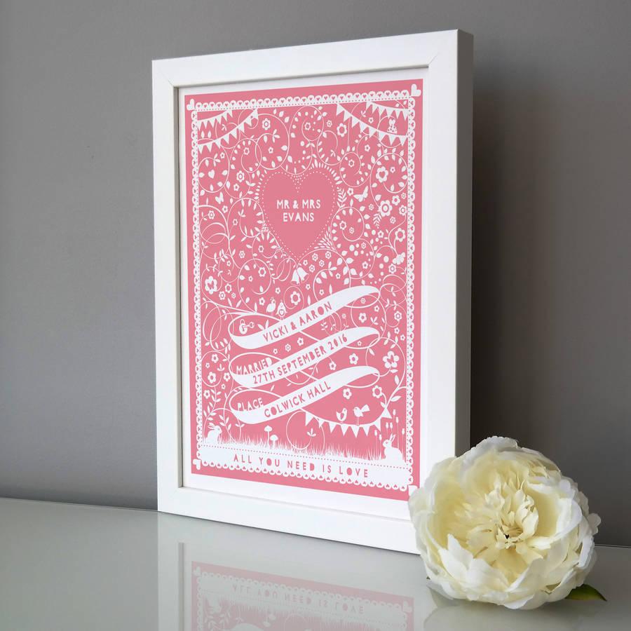 personalised wedding ribbon print by pepper print shop ...