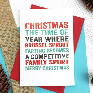 Merry Christmas Brussel Sprout Fart Greetings Card - new lines added