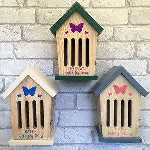 Personalised Wooden Butterfly House - birds & wildlife