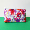 Red Floral Waterproof Cotton Cosmetic Bag
