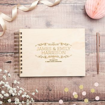Personalised Elegant Wooden Wedding Guest Book