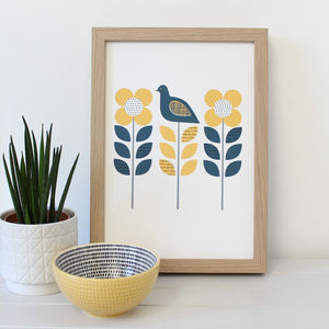 Scandi Bird Garden A4 Art Print