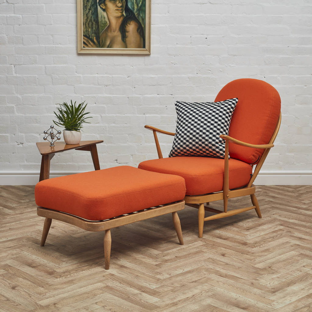 Ercol Windsor Chair With Matching Footstool