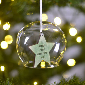 Personalised Christmas Glass Decoration Bauble