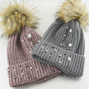Floral And Stud Bobble Hat - new in fashion