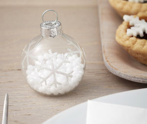 Snowflake Bauble Place Name Card Holders - decoration