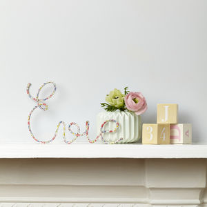 Personalised Liberty Fabric And Wire Name Sign - children's room