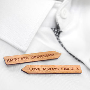 Personalised Wooden Collar Stiffeners - 5th anniversary: wood