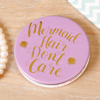 Mermaid Hair Don't Care Compact Mirror Stocking Filler