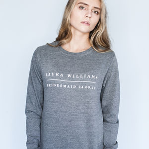Personalised Bridesmaid Sweatshirt - new in wedding styling