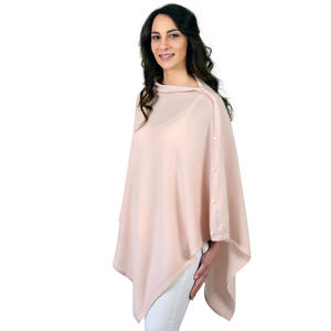 Pink Personalised Pure Cashmere Button Poncho - ponchos & wraps