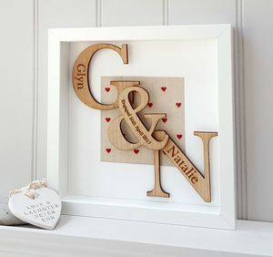 Engagement Personalised Oak Initials Artwork - new in prints & art