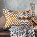 Mustard And Grey Hand Embroidered Kilim Cushion