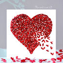 Red Heart Butterfly Card, Love Card