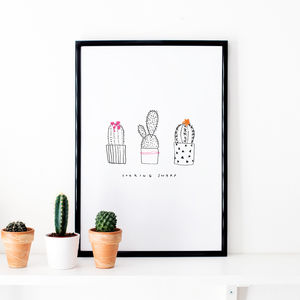 Cactus Illustrated Art Print - on trend: cactus