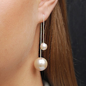 Silver White Pearl Threader Two Way Drop Earrings