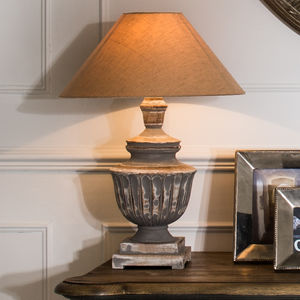 Redwood Grey Wash Lamp With Shade - dining room